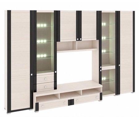 Стенка для гостиной Фиджи (комплектация 26) дуб белфортМодульные стенки<br>Внутренние полки витрин выполнены из стекла.<br> <br>Направление открытия дверей комбинированных шкафов определяется при сборке.<br>