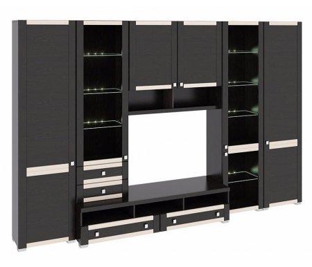 Стенка для гостиной Фиджи (комплектация 26) венге цавоМодульные стенки<br>Внутренние полки витрин выполнены из стекла.<br> <br>Направление открытия дверей комбинированных шкафов определяется при сборке.<br>