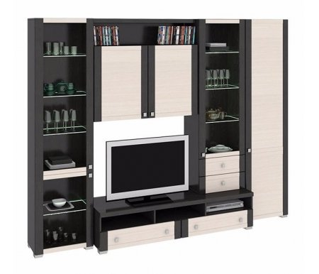 Стенка для гостиной Фиджи (комплектация 30) венге цаво / дуб белфортМодульные стенки<br>Внутренние полки витрин выполнены из стекла.<br> <br>Направление открытия дверей комбинированных шкафов определяется при сборке.<br>