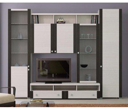 Стенка для гостиной Фиджи (комплектация 32) дуб белфортМодульные стенки<br>Внутренние полки витрин выполнены из стекла.<br> <br>Направление открытия дверей комбинированных шкафов определяется при сборке.<br>