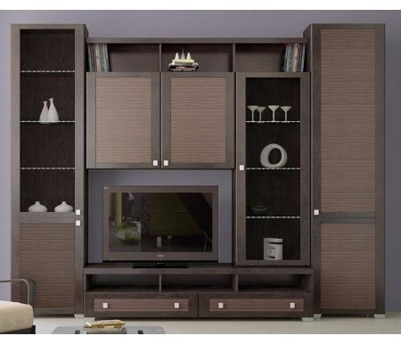Стенка для гостиной Фиджи (комплектация 32) венге цаво / каналы дубаМодульные стенки<br>Внутренние полки витрин выполнены из стекла.<br> <br>Направление открытия дверей комбинированных шкафов определяется при сборке.<br>