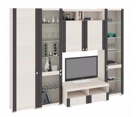 Стенка для гостиной Фиджи (комплектация 34) дуб белфортМодульные стенки<br>Внутренние полки витрин выполнены из стекла.<br> <br>Направление открытия дверей комбинированных шкафов определяется при сборке.<br>