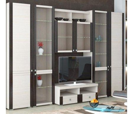 Стенка для гостиной Фиджи (комплектация 36) дуб белфортМодульные стенки<br>Внутренние полки витрин выполнены из стекла.<br> <br>Направление открытия дверей комбинированных шкафов определяется при сборке.<br>