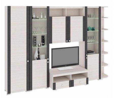 Стенка для гостиной Фиджи (комплектация 38) дуб белфортМодульные стенки<br>Внутренние полки витрин выполнены из стекла.<br> <br>В данной комплектации используется угловой шкаф с петлями с левой стороны.<br>