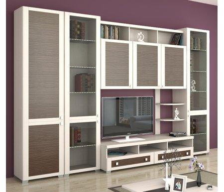 Стенка для гостиной Фиджи (комплектация 3) дуб белфорт / каналы дубаМодульные стенки<br>Внутренние полки витрин выполнены из стекла.<br> <br>Направление открытия дверей комбинированных шкафов определяется при сборке.<br>