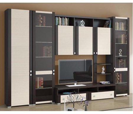 Стенка для гостиной Фиджи (комплектация 3) венге цаво / дуб белфортМодульные стенки<br>Внутренние полки витрин выполнены из стекла.<br> <br>Направление открытия дверей комбинированных шкафов определяется при сборке.<br>