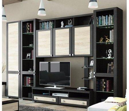 Стенка для гостиной Фиджи (комплектация 3) венге цаво / дуб сономаМодульные стенки<br>Внутренние полки витрин выполнены из стекла.<br> <br>Направление открытия дверей комбинированных шкафов определяется при сборке.<br>