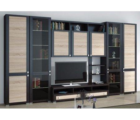 Стенка для гостиной Фиджи (комплектация 5) венге цаво / дуб сономаМодульные стенки<br>Внутренние полки витрин выполнены из стекла.<br> <br>Направление открытия дверей комбинированных шкафов определяется при сборке.<br>