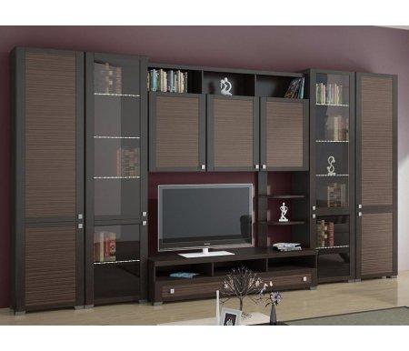 Стенка для гостиной Фиджи (комплектация 5) венге цаво / каналы дубаМодульные стенки<br>Внутренние полки витрин выполнены из стекла.<br> <br>Направление открытия дверей комбинированных шкафов определяется при сборке.<br>