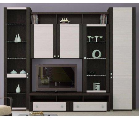Стенка для гостиной Фиджи (комплектация 6) венге цаво / дуб белфортМодульные стенки<br>Внутренние полки витрин выполнены из стекла.<br> <br>Направление открытия дверей комбинированных шкафов определяется при сборке.<br>