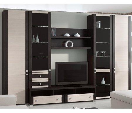 Стенка для гостиной Фиджи (комплектация 8) венге цаво / дуб белфортМодульные стенки<br>Внутренние полки витрин выполнены из стекла.<br> <br>Направление открытия дверей комбинированных шкафов определяется при сборке.<br>