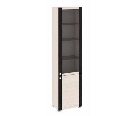Шкаф комбинированный с 1-ой глухой и 1-ой дверью со стеклом Фиджи ШК(07)_32-21_18 дуб белфортМодульные витрины<br>Верхние три полки сделаны из стекла, нижние из ЛДСП.  <br>    <br>   Универсальное направление дверей. Расположение петель определяется при сборке.<br>