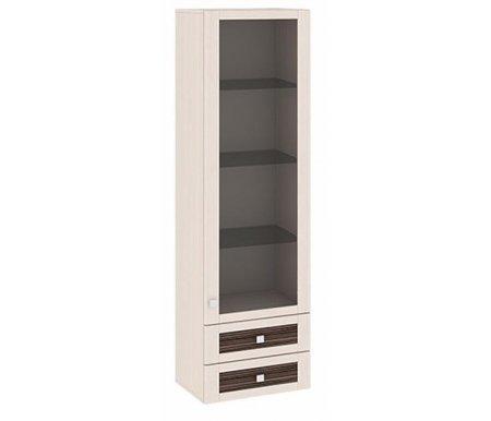 Шкаф-надстройка с 1-ой дверью со стеклом и с 2-мя ящиками Фиджи ШН2я(12)_32-19_18 дуб белфорт / каналы дубаМодульные витрины<br>Шкаф имеет два выдвижных ящика.<br>    <br>  Стеклянные полки.<br>    <br>  Универсальное направление дверей. Расположение петель определяется при сборке.<br>