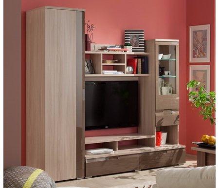 Стенка ПрестижГостиные и стенки<br>Стенка Престиж состоит из шкафа для одежды, витрины для посуды, выдвижных ящиков, ниши под телевизор диагональю 48 и полок.<br>Цвет: ясень шимо светлый / шоколад глянец.<br><br>Размеры (Ш x Г x В ): 200 x 55 x 197 см.<br><br>Материалы:<br><br>Корпус - ЛДСП 16 и 25 мм.<br><br>Кромка - ПВХ 0,4 и 1 мм.<br><br>Фасад - МДФ покраска с фрезеровкой; стекло.<br><br>Опоры: регулируемые.<br><br>Направляющие: роликовые.<br>