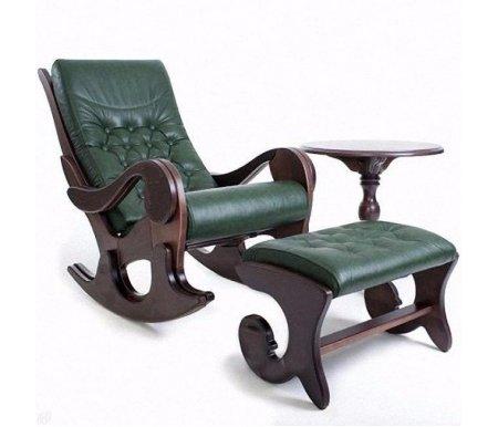 Кресло-качалка Грация с банкеткой каркас венге, обивка грин (без росписи)Кресла-качалки<br>Кресло-качалка Грация - выполнена из массива дерева.<br> <br>Материал обивки - натуральная кожа.<br> <br>Прочный каркас выдерживает нагрузку до 150 кг.<br><br>Ширина сиденья: 53 см<br>Ширина: 66 см<br>Глубина сиденья: 50 см<br>Глубина: 130 см<br>Высота сиденья: 40 см<br>Высота: 100 см<br>Материал каркаса: массив дерева<br>Цвет каркаса: венге<br>Материал обивки: натуральная кожа<br>Цвет обивки: грин<br>Вес: 26 кг
