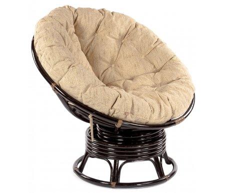 Кресло-качалка PAPASAN с матрасом Р115 (23/01В)Кресла-качалки<br>Кресло вращается вокруг своей оси.<br><br>Ширина: 115 см<br>Глубина: 98 см<br>Высота: 97 см<br>Материал каркаса: натуральный ротанг<br>Цвет каркаса: античный коричневый<br>Материал обивки подушки: ткань<br>Цвет обивки: бежевый<br>Вес: 15 кг<br>Объем: 1 куб. м