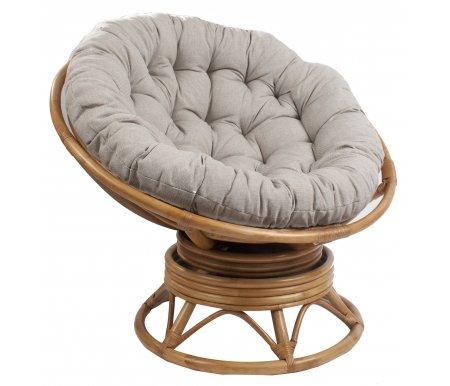 Кресло-качалка Pretoria с подушкойКресла<br>Кресло-качалка Pretoria с подушкой имеет необычную конструкцию на пружинах, которая позволяет модели вращаться.<br> <br>Удобная и мягкая подушка легко убирается, входит в стоимость.<br> <br>Максимальная нагрузка - 120 кг.<br> <br>Кресло подходит для пуфаPapyrus.<br><br>Ширина: 115 см<br>Глубина: 115 см<br>Высота сиденья: 40 см<br>Высота: 90 см<br>Материал каркаса: ротанг<br>Цвет каркаса: орех, коньяк, золотой мед<br>Материал обивки: рогожка<br>Цвет обивки: серо-бежевый