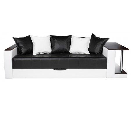 Диван Атлант черный / белыйДиваны<br>Наполнение: пружинный блок Bonnel, войлок, ППУ 25 кг/м3, синтепон, простеганный с обивочной тканью. Подлокотники выполнены с использованием декора из МДФ цвета венге.<br>