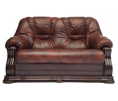 Диван двухместный Golzmayer (Гольцмаер) натуральная коричневая кожаДиваны<br>Каркас дивана: натуральный дуб ручной резки. <br>Диван декорирован металлическими заклепками с медным напылением под старину.<br> <br>Обивка: натуральная итальянская телячья кожа.<br> <br>Наполнитель: COMFORT Golz Tex.<br> <br>Диван с широкими подлокотниками.<br>