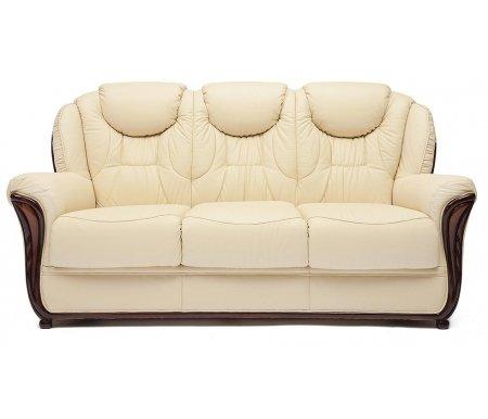 Диван трехместный Maestral (Маэстрал) натуральная бежевая кожаДиваны<br>Каркас дивана: натуральный дуб ручной резки. <br>  Диван декорирован металлическими заклепками с медным напылением под старину. Обивка: натуральная итальянская телячья кожа.<br> <br>  Наполнитель: COMFORT Golz Tex.<br> <br>  Диван с широкими подлокотниками.<br>