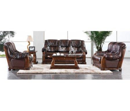 Комплект мебели CastelloКомплекты мягкой мебели<br>Комплект состоит из трехместного дивана, двухместного дивана, кресла, большого и малого журнальных столов. Все предметы из комплекта выполнены в обивке из натуральной кожи коричневого цвета.<br><br>Ширина трехместного дивана: 190,5 см<br>Ширина двухместного дивана: 145 см<br>Ширина кресла: 99 см<br>Глубина диванов и кресла: 100 см<br>Высота диванов и кресла: 100 см<br>Длина большого журнального стола: 120 см<br>Ширина большого журнального стола: 46 см<br>Высота большого журнального стола: 56 см<br>Длина малого журнального стола: 66 см<br>Ширина малого журнального стола: 51 см<br>Ширина малого журнального стола: 61 см