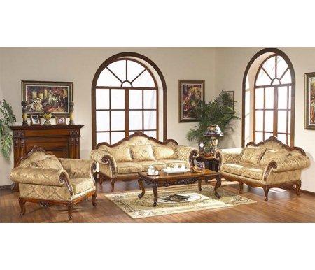 Трехместный диван Валенсия 0611 + 2 кресла Валенсия 0611Комплекты мягкой мебели<br>Элегантный комплект Валенсия 0611 состоит из трехместного дивана и двух кресел.<br> <br>Уникальный резной декор, плавная форма, изящные ножки, декоративные гвоздики в общей стилистике - все это гармонично сочетается с высоким качеством исполнения, делая данный комплект настоящим украшением интерьера.<br><br>Ширина 3х местного дивана: 225 см<br>Глубина 3х местного дивана: 90 см<br>Высота 3х местного дивана: 100 см<br>Ширина кресла: 124 см<br>Глубина кресла: 90 см<br>Высота кресла: 100 см<br>Материал каркаса: массив тополя, МДФ, шпон<br>Цвет каркаса: 1049# (темный орех)<br>Материал обивки: нет данных<br>Цвет обивки: нет данных