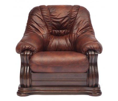 Кресло Golzmayer (Гольцмайер) натуральная коричневая кожаКресла<br>Каркас кресла: натуральный дуб ручной резки. <br>  Кресло декорировано металлическими заклепками с медным напылением под старину.<br> <br>  Обивка: натуральная итальянская телячья кожа.<br> <br>  Наполнитель: COMFORT Golz Tex.<br>