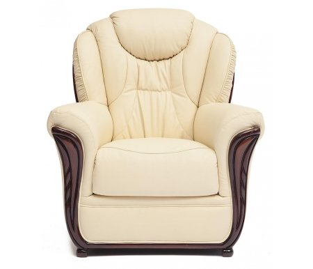 Кресло Maestral (Маэстрал) натуральная бежевая кожаКресла<br>Каркас кресла: натуральный дуб ручной резки. <br>  Кресло декорировано металлическими заклепками с медным напылением под старину.<br> <br>  Обивка: натуральная итальянская телячья кожа.<br> <br>  Наполнитель: COMFORT Golz Tex.<br>