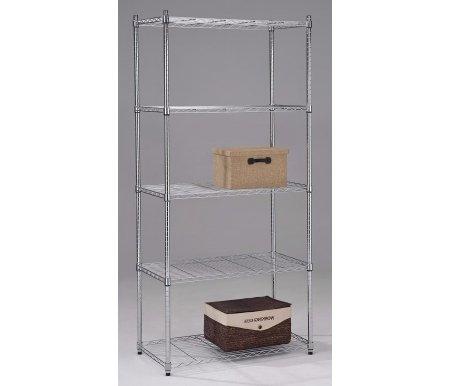 Этажерка SR-0685-5Стеллажи<br>Этажерка SR-0685-5 может быть расположена и в гардеробной и на кухне.<br> <br>Подходит для размещения посуды, вещей, различных аксессуаров.<br><br>Ширина: 91 см<br>Глубина: 46 см<br>Высота: 182 см<br>Материал: металл<br>Цвет: хром