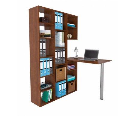 Стеллаж Рикс-1 МСТ-ССР-01-##-16 со столом Рикс-6 МСТ-СДА-06-##-16 орехКомпьютерные столы<br>Направление стола определяется при сборке.<br>