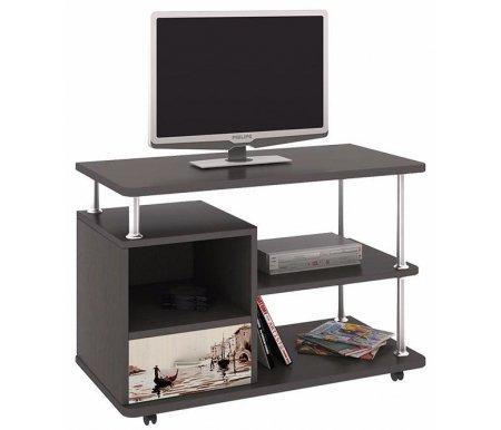 Тумба с рисунком TV-2 108.002ТВ-Тумбы<br>Тумба TV на колесиках - это многофункциональный элемент для интерьера комнаты. Цвет ручек - серый металлик, материал - пластик.<br><br>Ширина: 80 см<br>Глубина: 40 см<br>Высота: 55 см<br>Материал каркаса: ЛДСП<br>Цвет каркаса: венге цаво<br>Материал фасада: ЛДСП<br>Цвет фасада: дуб молочный с рисунком<br>Вес: 18 кг