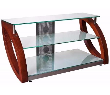 Купить ТВ-тумба Akur, Фантом 80 см стекло серебристое / декор вишня, серебрянный металлик / вишня