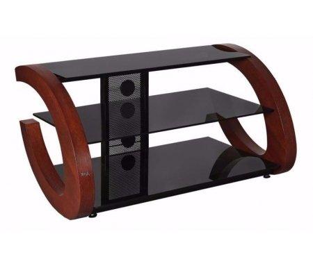 Купить ТВ-тумба Akur, Гросс 100 см стекло черное / декор вишня, черный / вишня