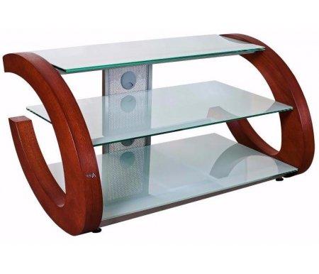 Купить ТВ-тумба Akur, Гросс 100 см стекло серебристое / декор вишня, серебристый / вишня