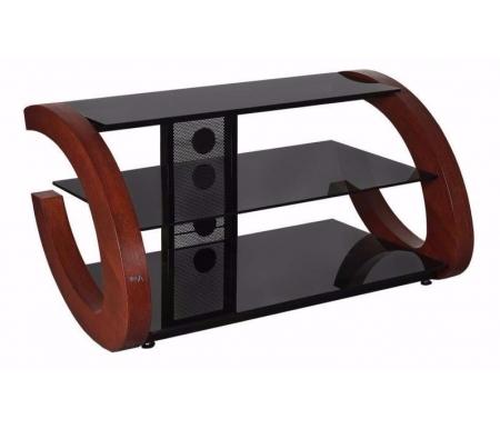 Купить ТВ-тумба Akur, Гросс 80 см стекло черное / декор вишня, черный / вишня