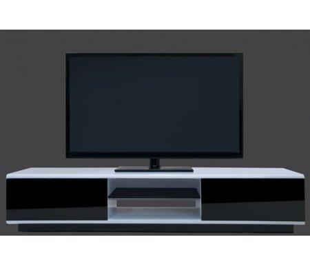 Купить  Lisewood Decollo 2 корпус белый фасад черный стекло тонированное основание черное  ТВ-тумба Akur