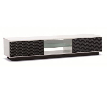 ТВ-Тумбы Lisewood Echo 2 корпус белый фасад черный стекло матовое основание белое черное  ТВ-тумба Akur