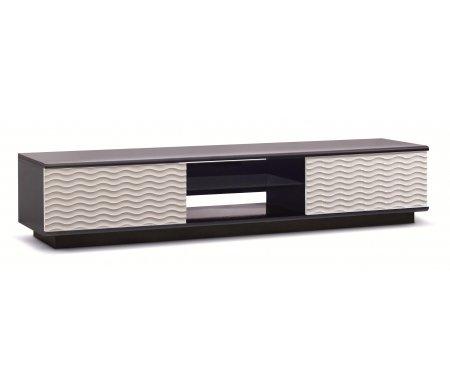 ТВ-Тумбы Lisewood Echo 2 корпус черный фасад белый стекло тонированное основание черное  ТВ-тумба Akur