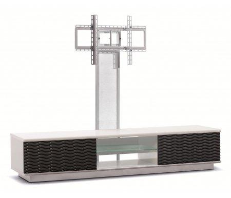Купить ТВ-тумба Akur, Lisewood Echo 2 PS корпус белый фасад черный стекло матовое основание белое ПС белый, белый / черный / белый