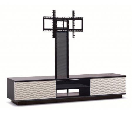 Купить ТВ-тумба Akur, Lisewood Echo 2 PS корпус черный фасад белый стекло тонированное основание черное ПС черный, черный / белый / черный