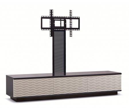 Купить ТВ-тумба Akur, Lisewood Echo 3 PS корпус черный фасад белый основание черное ПС черный, черный / белый / черный