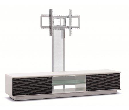 Купить ТВ-тумба Akur, Lisewood Iceberg 2 PS корпус белый фасад черный стекло матовое основание белое ПС белый, белый / черный / белый