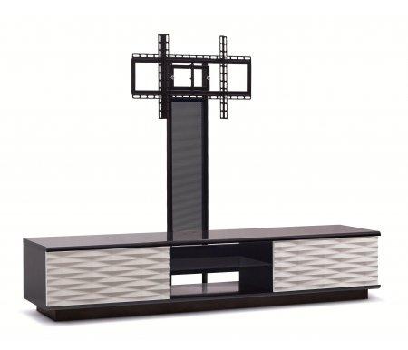 Купить ТВ-тумба Akur, Lisewood Iceberg 2 PS корпус черный фасад белый стекло тонированное основание черное ПС черный, черный / белый / черный