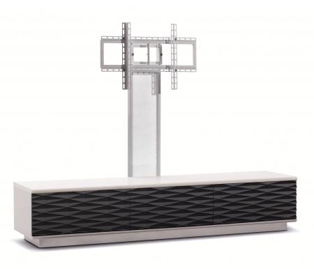 Купить ТВ-тумба Akur, Lisewood Iceberg 3 PS корпус белый фасад черный основание белое ПС белый, белый / черный / белый
