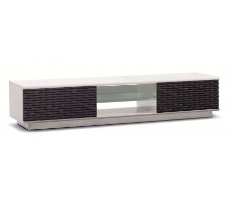 Купить ТВ-тумба Akur, Lisewood Luna 2 корпус белый фасад черный стекло матовое основание белый, белый / черный / белый