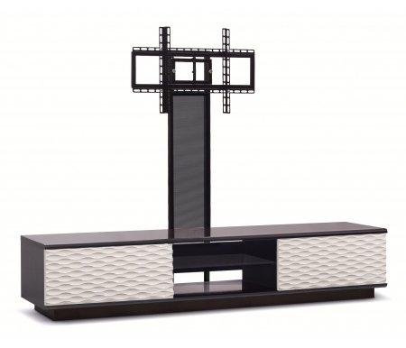 Купить ТВ-тумба Akur, Lisewood Luna 2 PS корпус черный фасад белый стекло тонированное основание черное ПС черный, черный / белый / черный