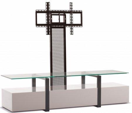 Купить ТВ-тумба Akur, Lisewood Panorama PS корпус белый рамка черная стекло прозрачное ПС черный, черный лак / белый