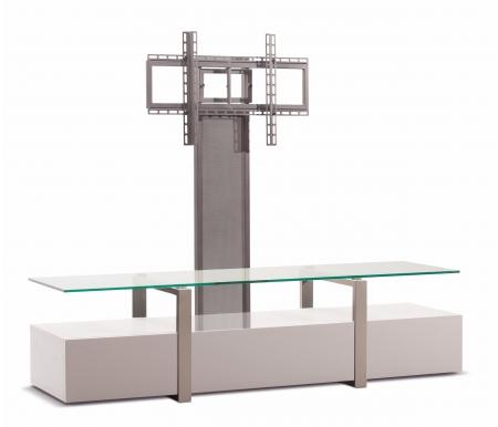 Купить ТВ-тумба Akur, Lisewood Panorama PS корпус белый рамка серебристая стекло прозрачное ПС серебристый, белый / серебристый