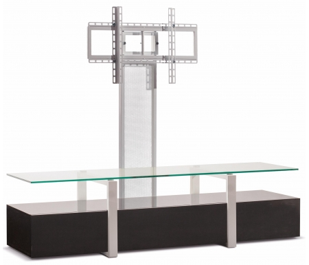 Купить ТВ-тумба Akur, Lisewood Panorama PS корпус черный рамка белая стекло прозрачное ПС белый, черный лак / белый глянец