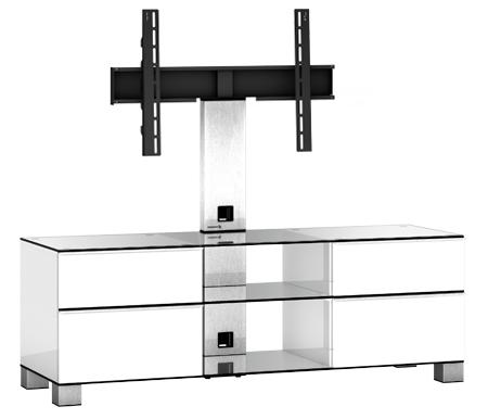 Купить ТВ-тумба Sonorous, MD 8340-C-INX-WHT, стальной / прозрачный / белый